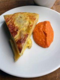 Tortilla with Romesco sauce.