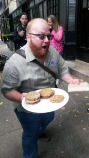 New York food tour guide with cookies.