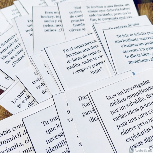 question cards spread on a table
