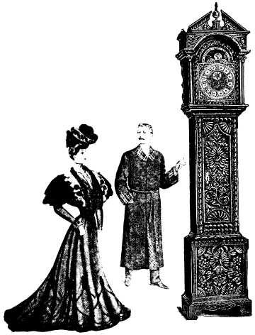 woman, man in smoking jacket and clock at 3:48 montage