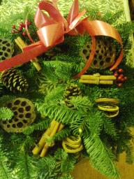 close up of Christmas wreath