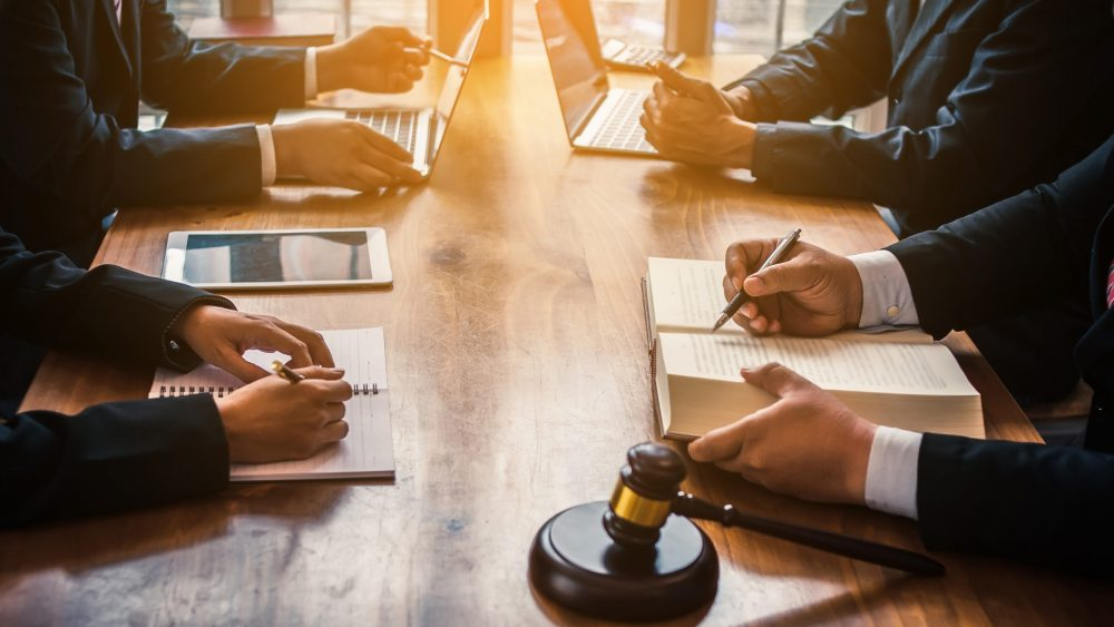 lawyers work in law firm conference room
