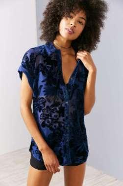 UO's floral burnout velvet shirt