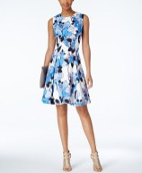 Ivanka Trump Floral Scuba Fit & Flair Dress,