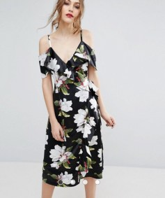ASOS Warehouse Floral Cold Shoulder Wrap Midi Dress