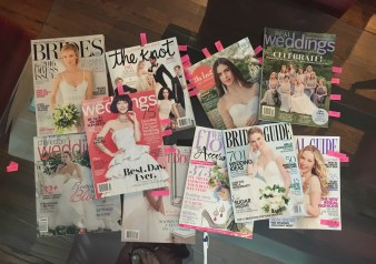 My mom put tabs in all these bridal magazines for me. Such a big help! :-)