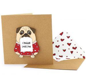 14 Sweet & Punny Valentine's Day Cards - Oliver Bonas I Puggin Love You