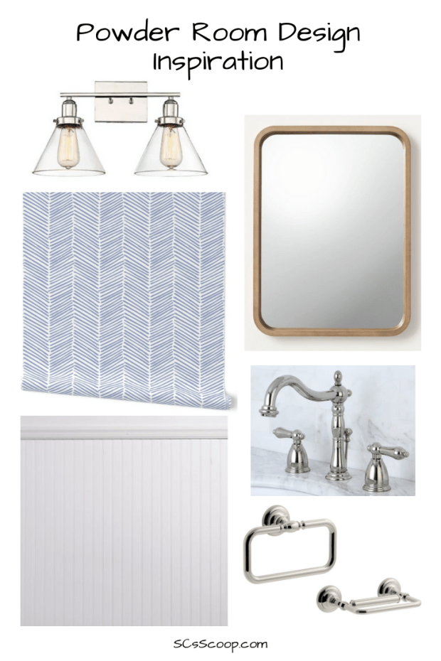 Powder Room Design Inspiration - Blue and White removeable wallpaper - SCsScoop.com