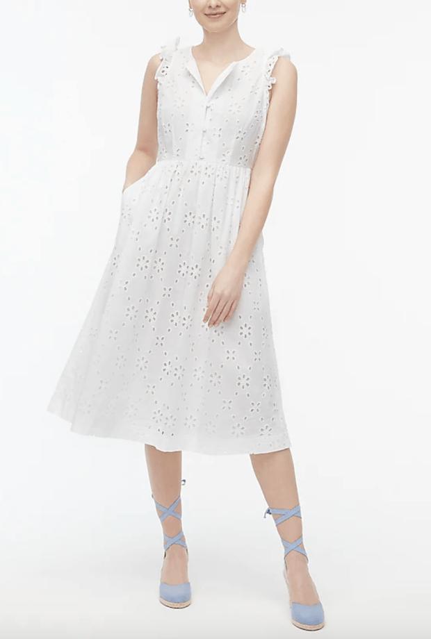 white eyelet dress under $100 - j.crew factory - SCsScoop.com