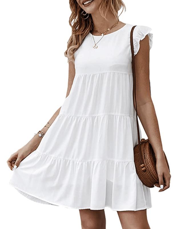 little white dress under $100 - amazon mini dress - SCsScoop.com