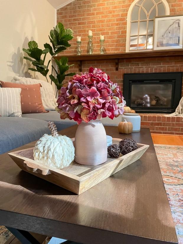 New Fall Home Decor - purple hydrangea in ceramic pot - SCsSCoop.com
