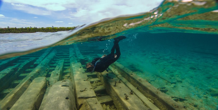 Thunder Bay is home to a number of shallow, easy-to-snorkel wrecks. Albany, a wooden steamer that wrecked in a storm in 1853, now lies in about five feet of water. The total length of the wreck is just over 200 feet, and is primarily composed of the ship's hull. (Photo credit: David J. Ruck/NOAA)