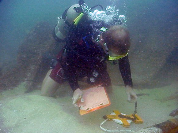 A maritime archaeologist uses a fiberglass tape to measure Vamar's structural components (Photo Courtesy of the Florida Division of Historical Resources)