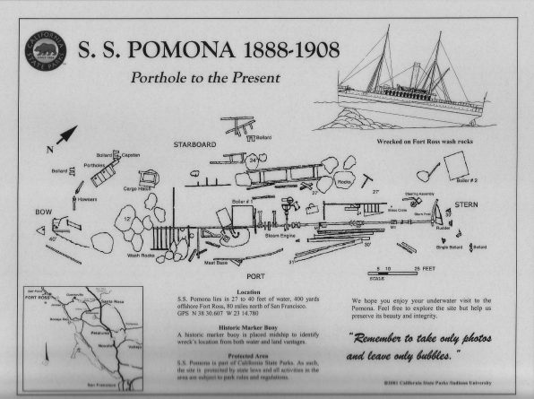 The interpretive dive slate for the Pomona shipwreck includes a site map showing its underwater features. Photo credit: (Indiana University and California State Parks)
