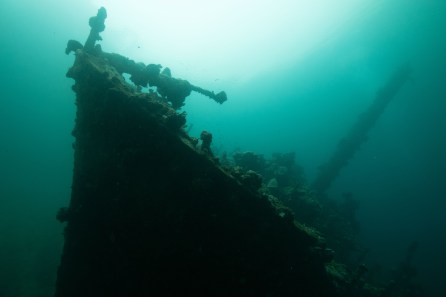 U.S. Air Force bombers sank the Kashi Maru freighter in 1943. Today, divers can explore the wreckage with Dive Munda. (Photo credit: Klaus Obermeyer)