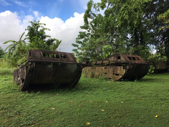 Visitors to Tetere Beach can see almost 40 of the 100 tanks left to rust in the area when American troops left the island of Guadalcanal. (Image credit: Rebecca Strauss)