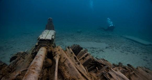 A diver explores the wreck of Joseph S. Fay. (Photo credit: David J. Ruck/NOAA)