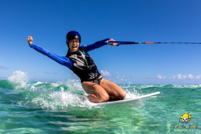Wakeboarding at Wakatobi during Kids Sea Camp in 2017 (Photo by Margo Peyton)
