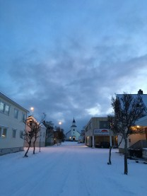 In the twilight-esque morning, the quiet streets of Andenes were covered in a fairytale coating of snow. (Photo by Rebecca Strauss)