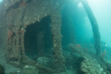 George Valentine's impressive structure rises above the seafloor (Photo credit: Florida Division of Historical Resources, Bureau of Archaeological Research, Gug Underwater, Inc.)