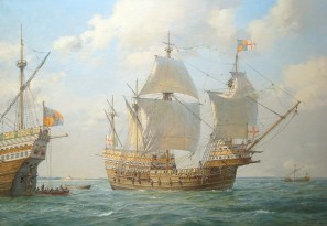 A painting by Geoff Hunt of the Mary Rose in battle in the Solent.