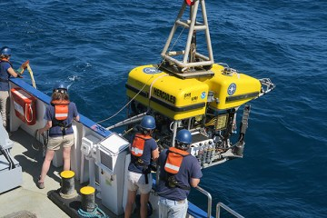 ROV Hercules launches off of the E/V Nautilus. Credit: Claire Fackler/NOAA