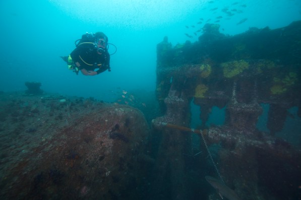 A diver swims over Caribsea's triple expansion engine, one of the higher reliefs at the site. (Photo credit: NOAA)