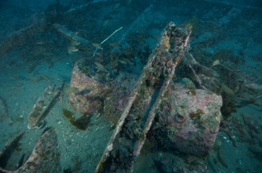 Remains of unexploded depth charges near the stern of the HMT Bedfordshire. Photo: NOAA