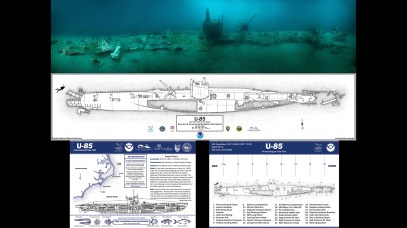 A photomosaic, site plan and dive slate are a few of the products produced for U-85 by Monitor National Marine Sanctuary. (All photos: NOAA)