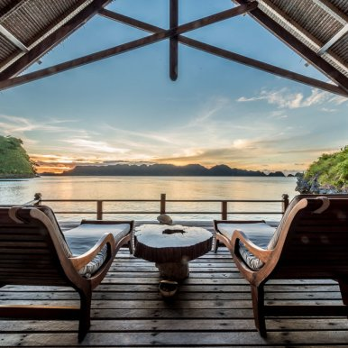 Over-water cottages and lagoon villas are built entirely of reclaimed tropical hardwoods. (Courtesy Misool Eco Resort)