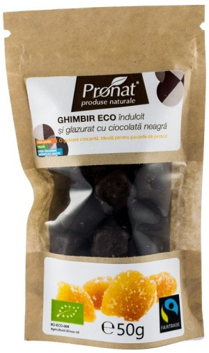 Ghimbir indulcit si glazurat cu ciocolata neagra, 50 gr
