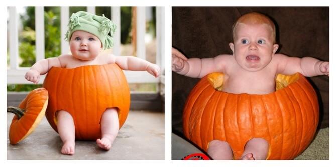 pumpkin carving fail baby