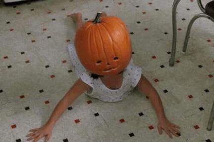 pumpkin carving fails kid