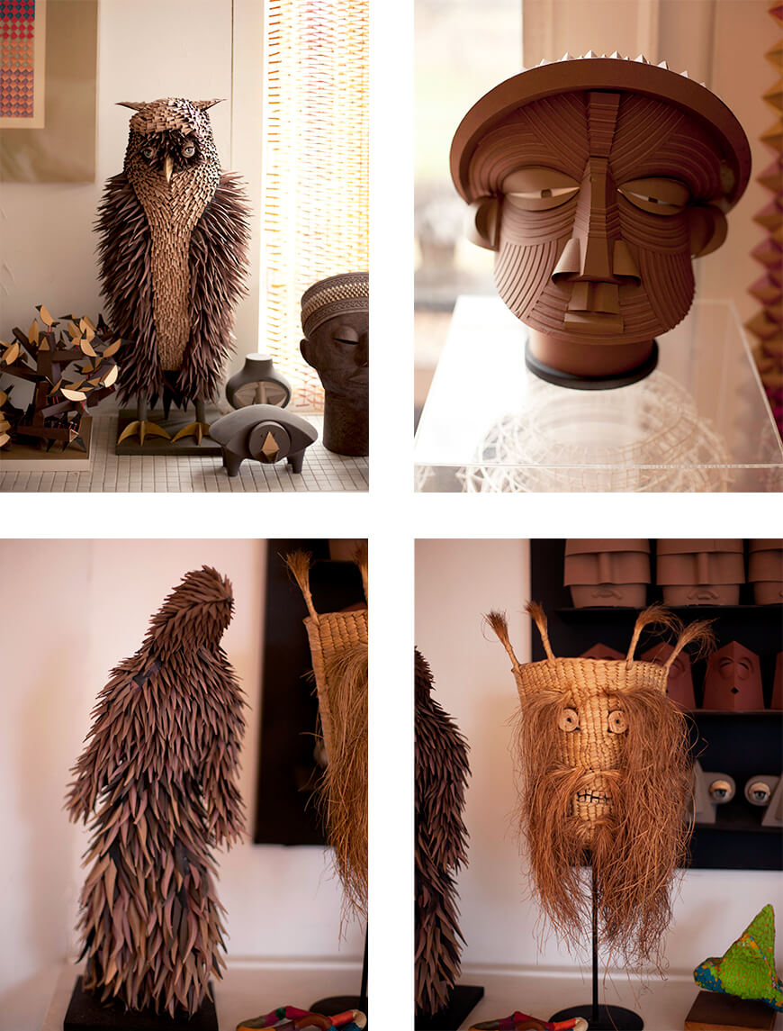 Irving Harper owl and other paper sculptures