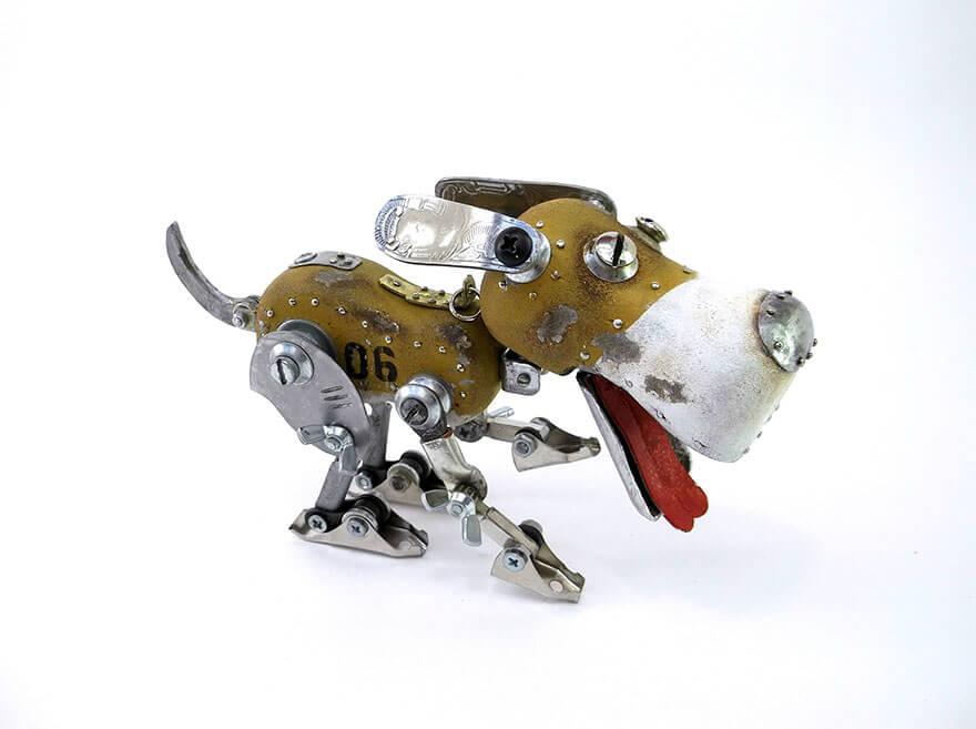 Igor Verniy Steampunk Sculpture Running Dog