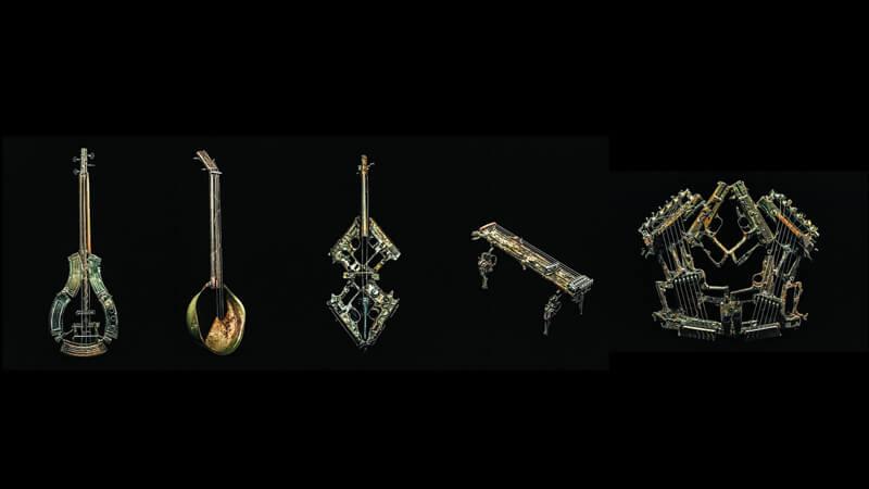artist melts guns to create musical instruments
