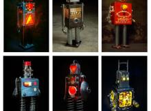 6 different robot sculptures