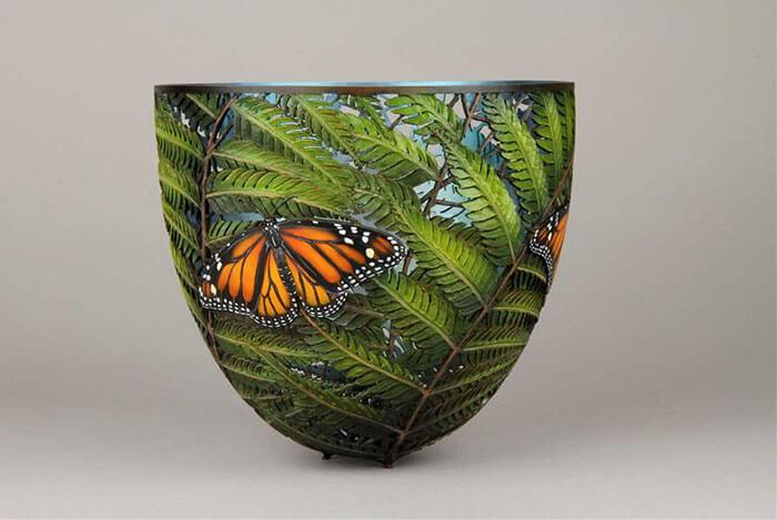 Gordon Pembridge wood carving monarch butterfly