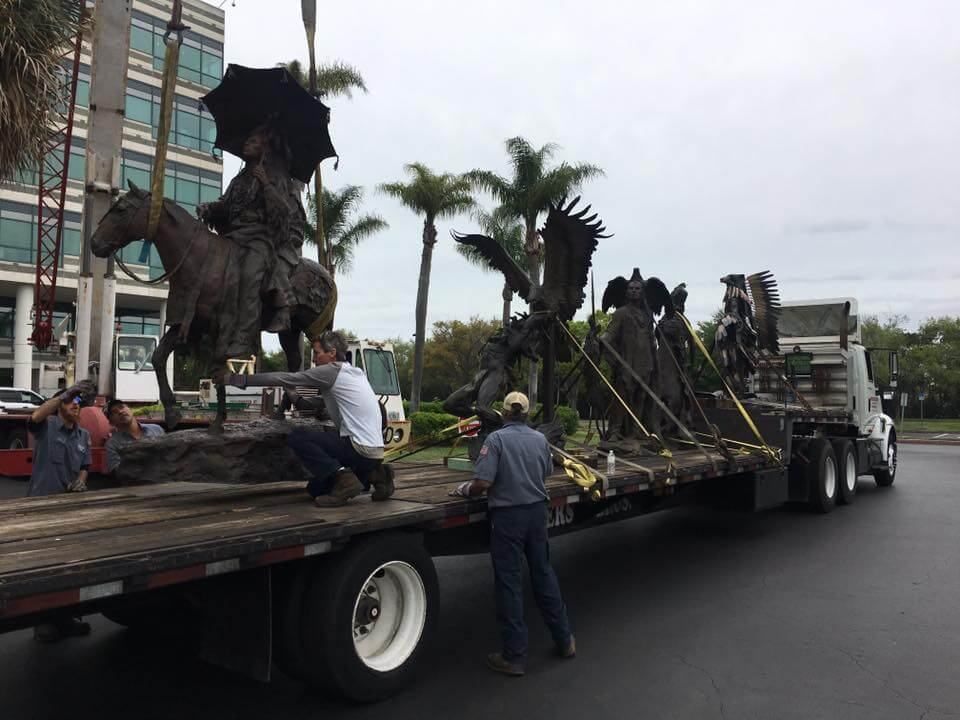 sculptures arriving at James Museum of Western and Wildlife Art