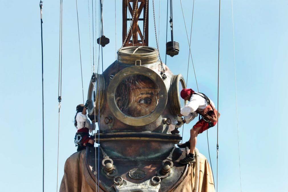 Diver giant sculpture puppet