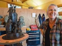 Sculptor Jane DeDecker and her suffragette monument sculpture