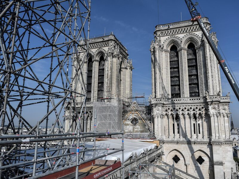 Notre Dame scaffolding after the fire