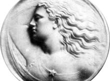 """round marble bas relief """"Evening"""" by sculptor Madison Colby"""