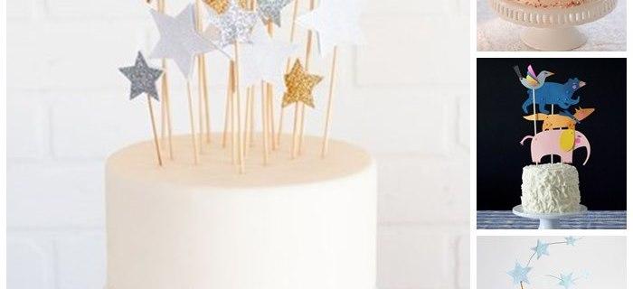 Decorazioni per torte di compleanno: paper cake toppers