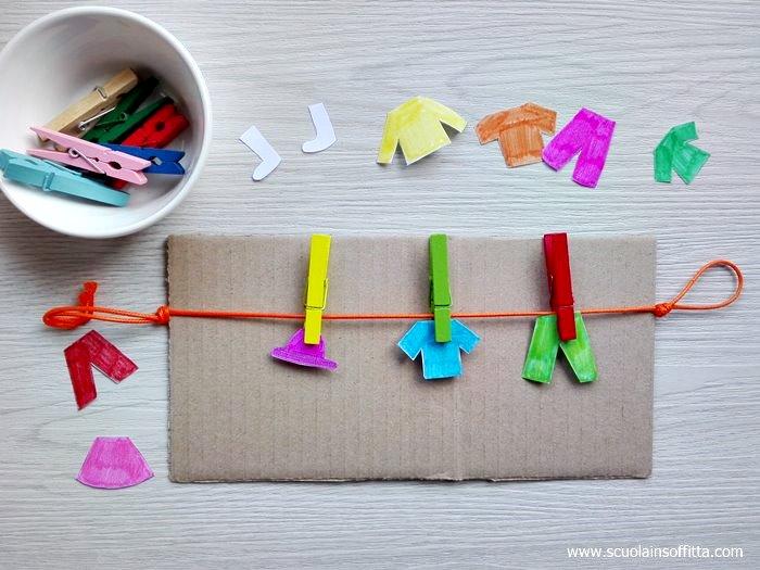 Tavola delle attività Montessori: le mollette