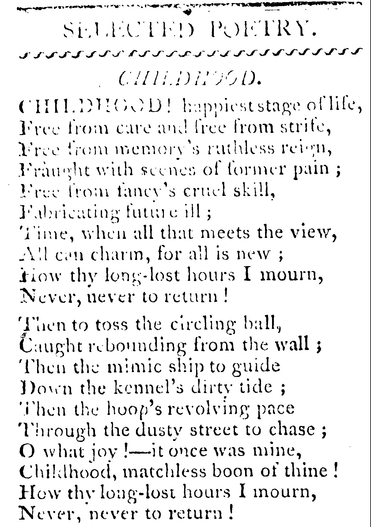 Childhood Poetry, 1808