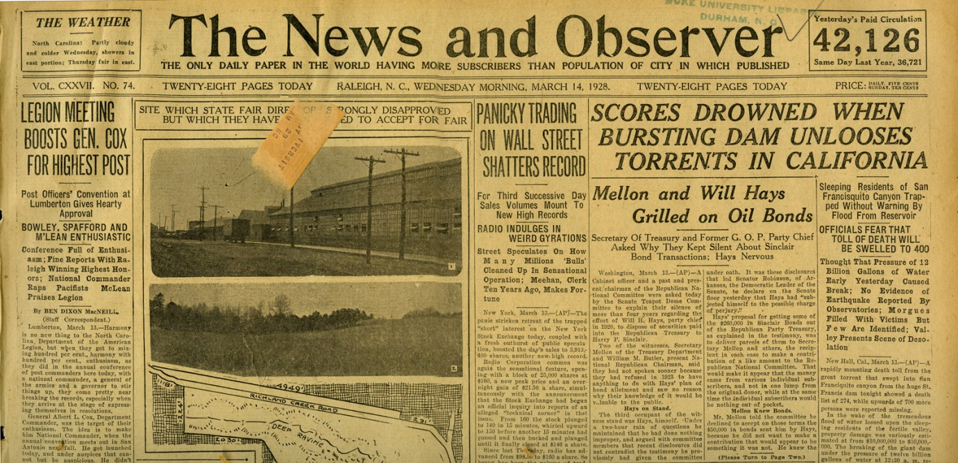 St. Francis Dam Disaster. THE NEWS AND OBSERVER (NEWSPAPER), WEDNESDAY, MARCH 14, 1928