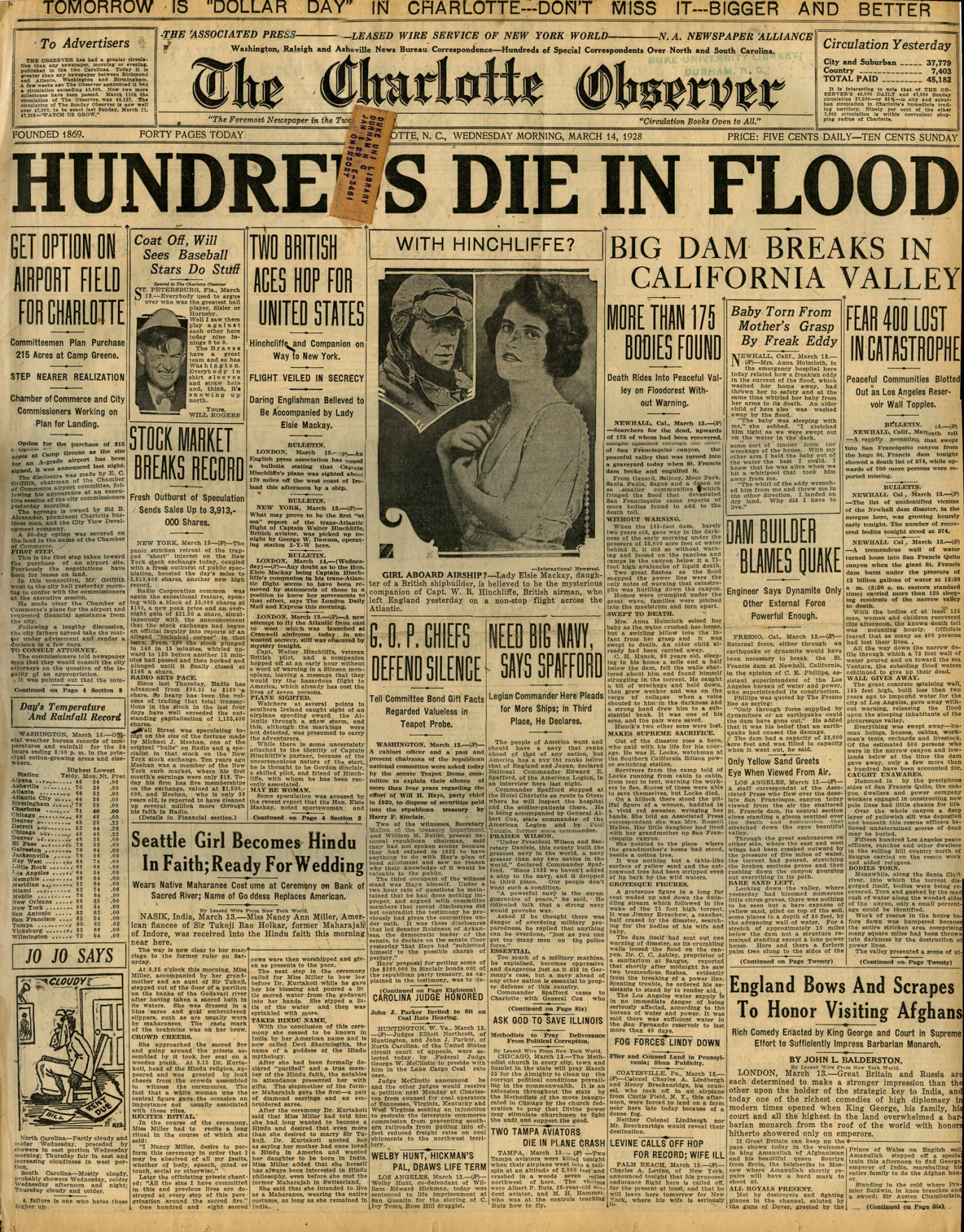 St. Francis Dam Disaster.  THE CHARLOTTE OBSERVER (NEWSPAPER),  WEDNESDAY, MARCH 14, 1928