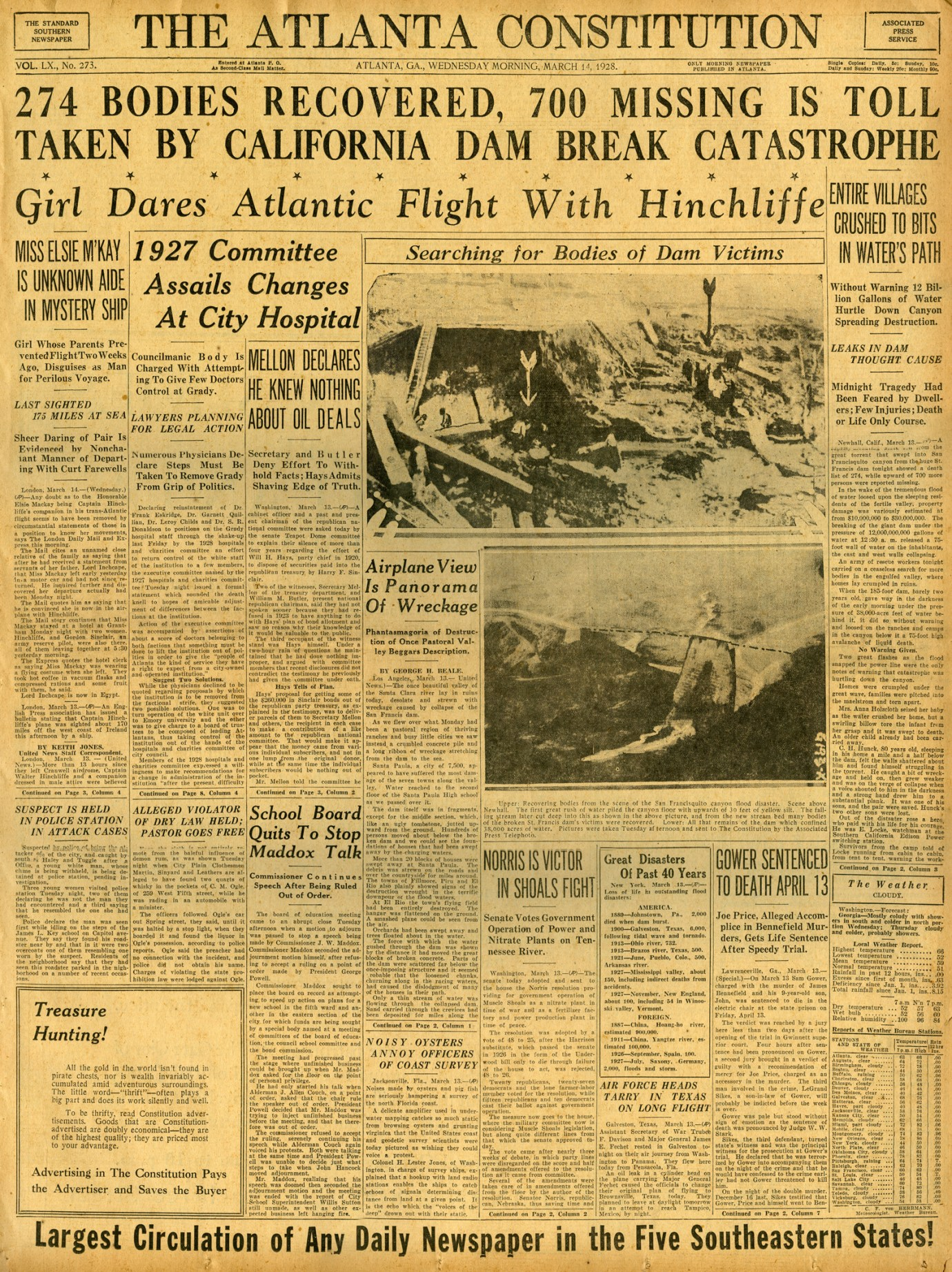 St. Francis Dam Disaster.  THE ATLANTA CONSTITUTION(NEWSPAPER),  WEDNESDAY, MARCH 14, 1928