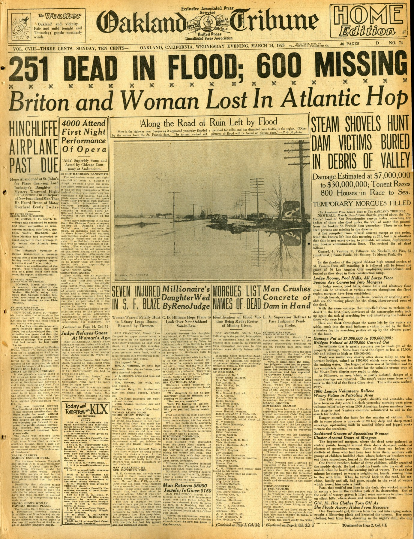 St. Francis Dam Disaster.  OAKLAND TRIBUNE (NEWSPAPER),  WEDNESDAY, MARCH 14, 1928